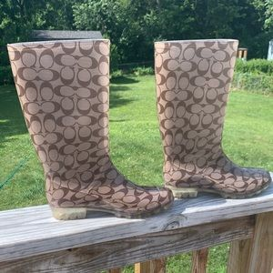 Brown Coach Rain Boots